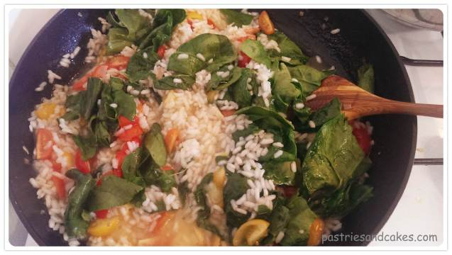 risotto tomates épinards