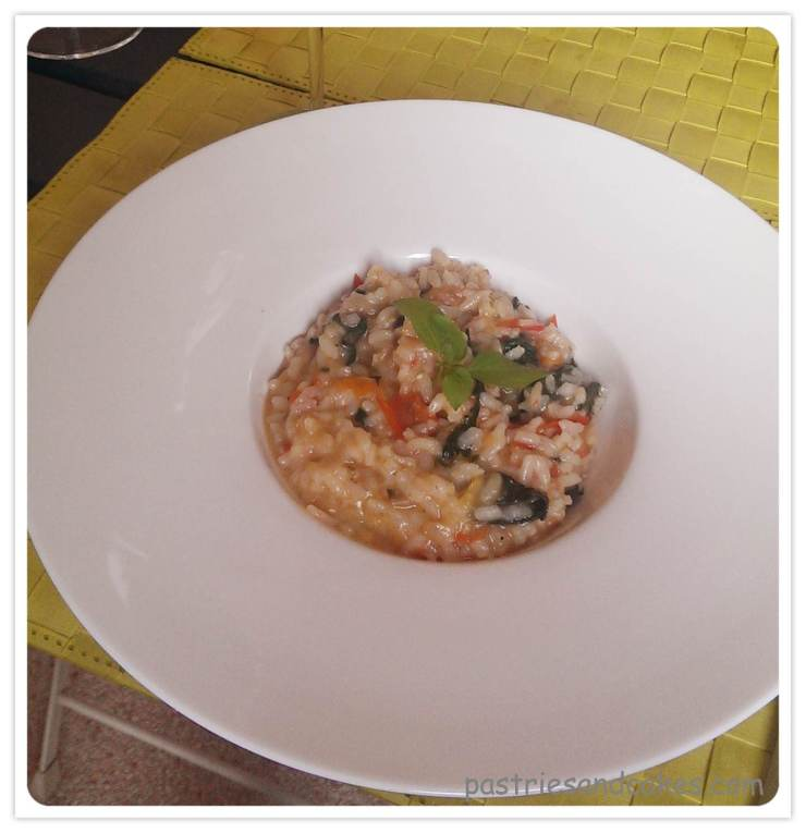 risotto tomates épinards